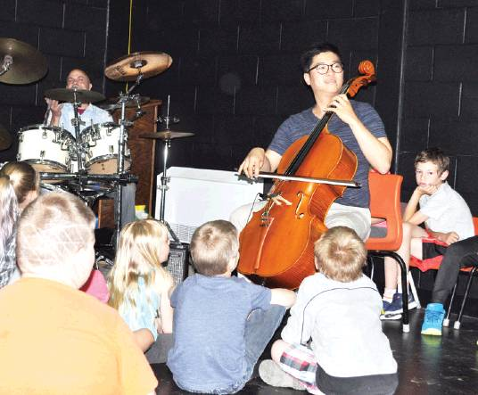 Andover Elementary School students were treated to a performance by Moncton cellist Jaeyoung Chong and local drummer Jason Leone on June 12. Chong also gave a recital in the village on June 13. PHOTO: CORINNE FITZHERBERT/THE VICTORIA STAR