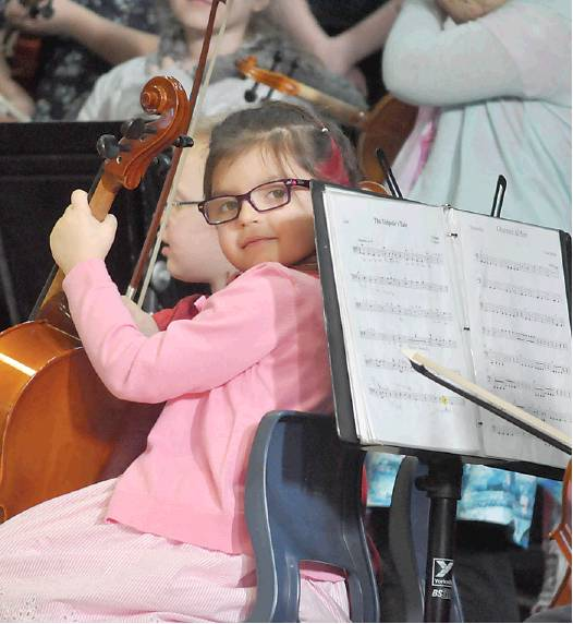 The newest members of the Sistema Tobique Centre orchestra – including Makayla Bear-Kinney – showed off their skills during instrumental classes at the Victoria County Music Festival on Friday, April 6.  PHOTO: CORINNE FITZHERBERT/THE VICTORIA STAR