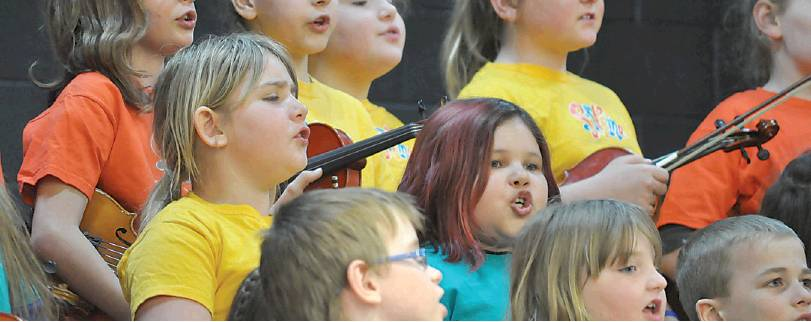 They play instruments and they sing too! Young members of the Sistema Tobique/Perth-Andover Centre orchestra gave a choral performance of When You Believe during the spring concert held at Andover Elementary School on April 11.  PHOTO: CORINNE FITZHERBERT/THE VICTORIA STAR
